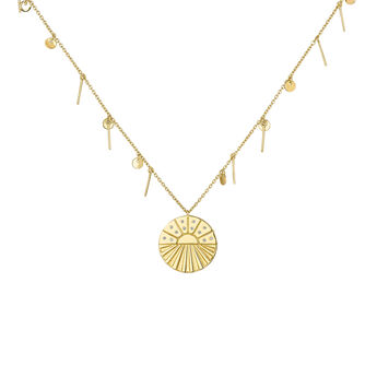 Gold plated medal necklace with pendants, J04138-02-WT, hi-res