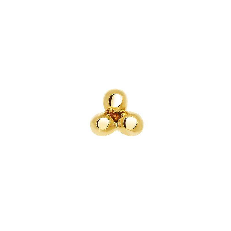Gold earring with three spheres, J03833-02-H, hi-res