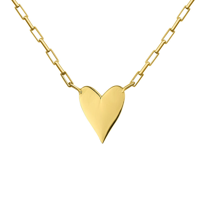 Gold plated heart motif necklace, J04639-02, hi-res