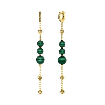Silver Malachite Long Earrings, J03510-02-WT-MA, hi-res