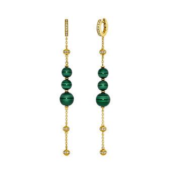 Boucles d'oreilles pendantes malachite or, J03510-02-WT-MA, hi-res