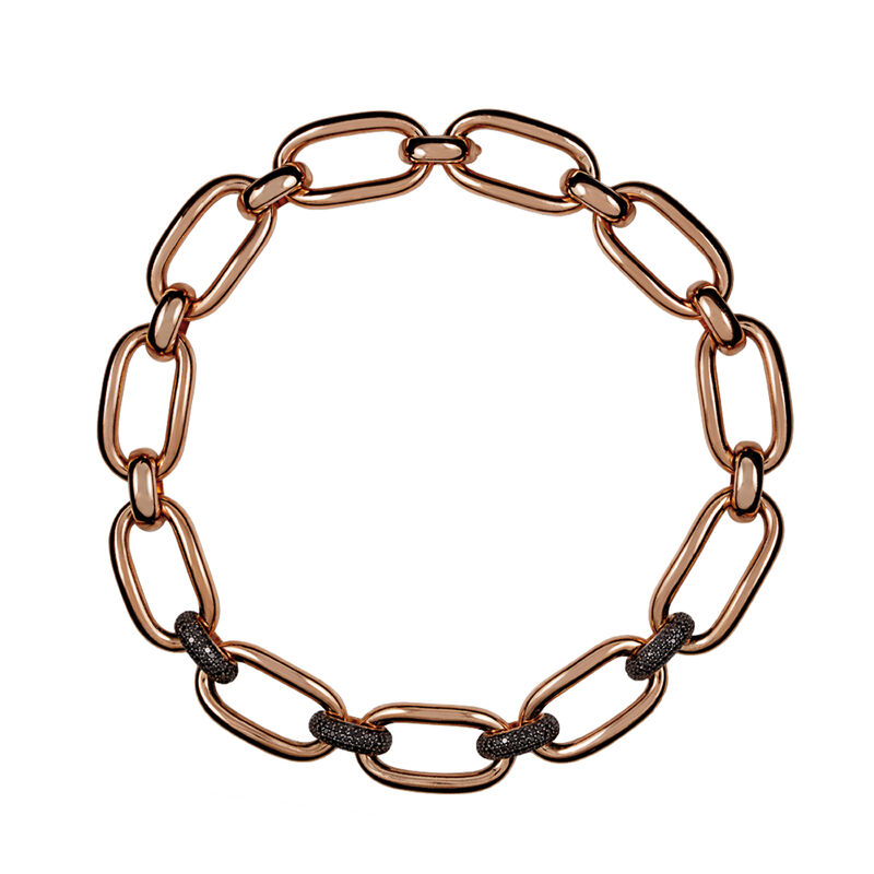 Rose gold plated link necklace with spinels, J00909-03, hi-res