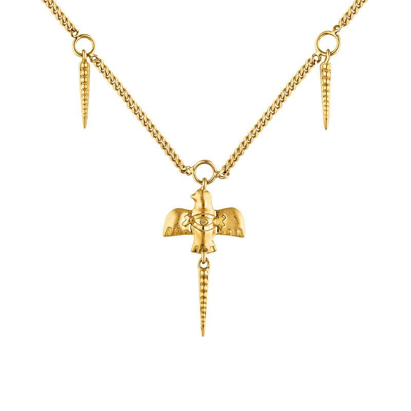 Collier oiseau argent plaqué or, J04553-02, hi-res