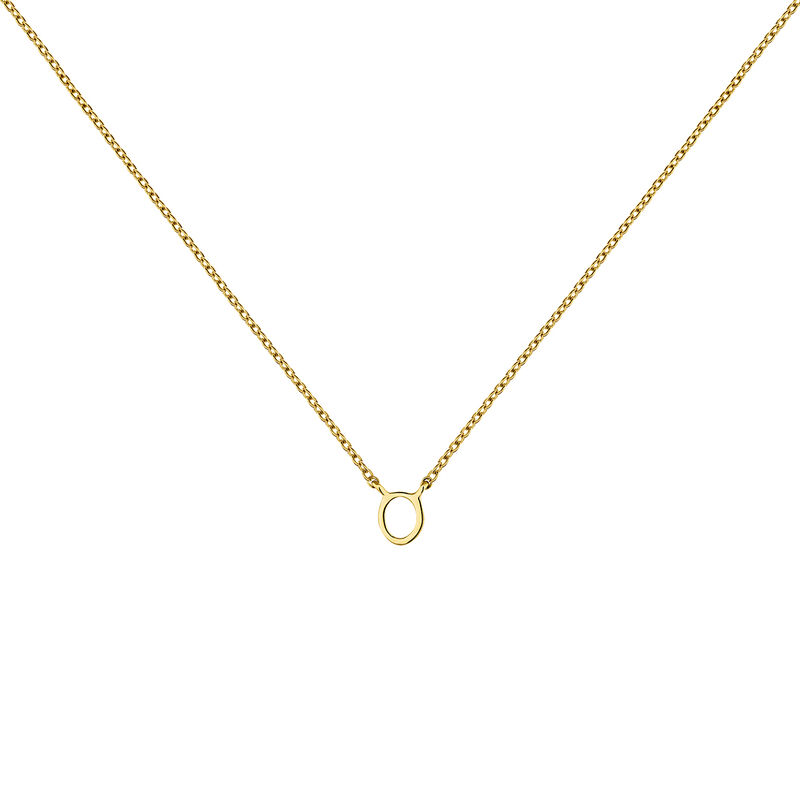 Gold Initial O necklace, J04382-02-O, hi-res