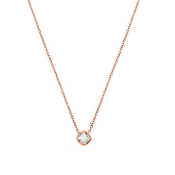 Rose gold plated chaton square quartz necklace, J01773-03-GQ, hi-res