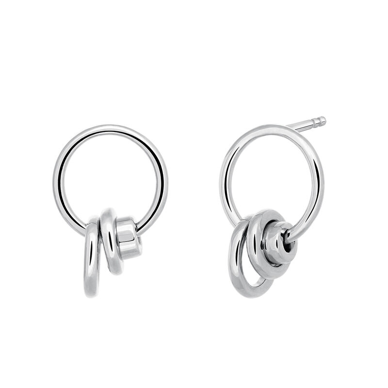 Silver multiple hoop earrings, J03472-01, hi-res
