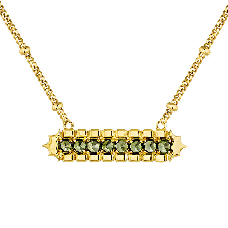 Green gold plated tourmaline rectangular necklace, J04275-02-GTU, hi-res