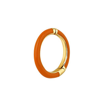 Boucle d'oreille or 9 ct émail orange, J03843-02-H-ORENA, hi-res