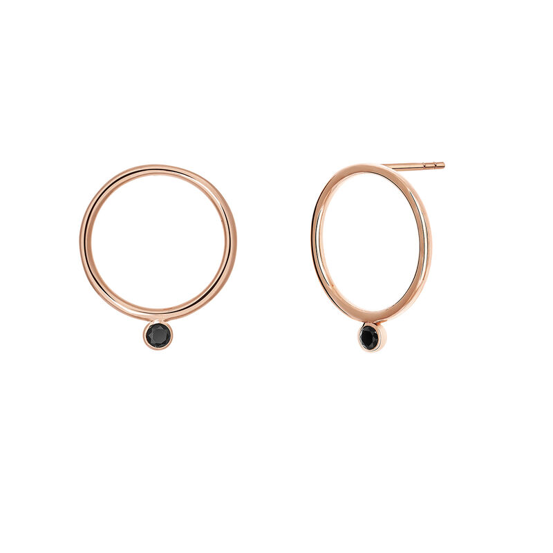 Rose gold plated circle earrings with spinels, J03671-03-BSN, hi-res