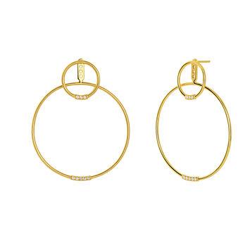 Gold topaz double hoop earrings, J03656-02-WT, hi-res
