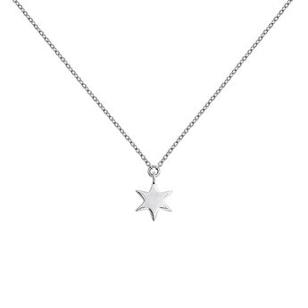White gold star necklace, J03863-01, hi-res