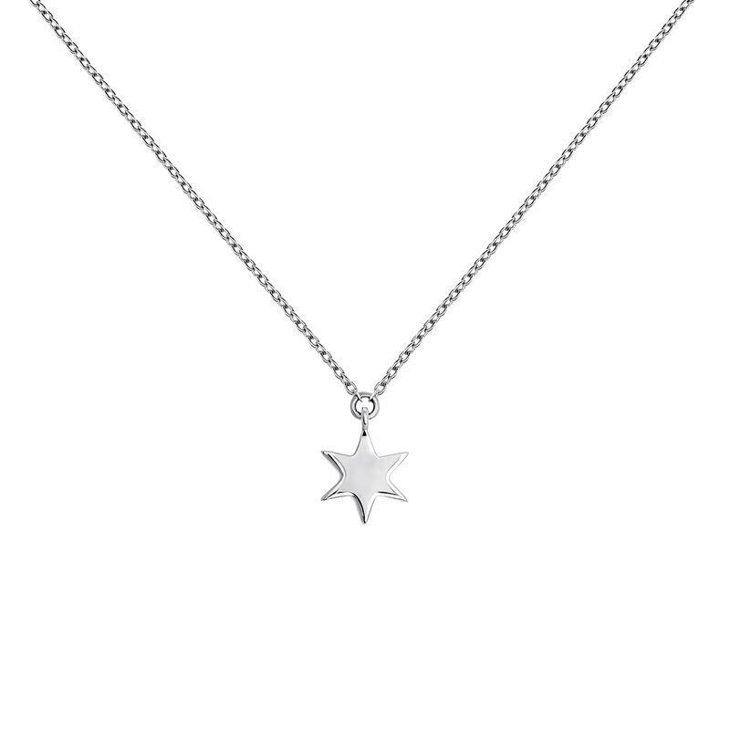 White gold star necklace, J03863-01, hi-res
