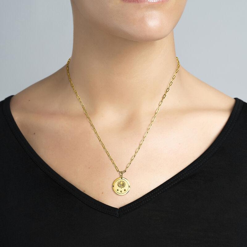 Gold star coin pendant, J03589-02, hi-res