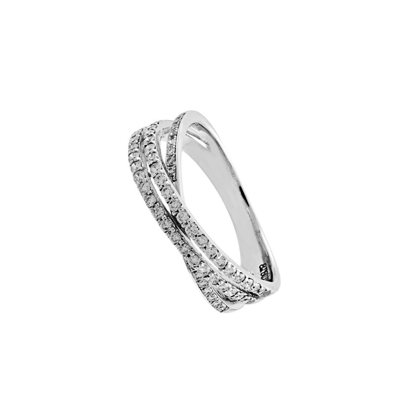 Bague triple diamants or blanc 0,41 ct, J00917-01-45, hi-res
