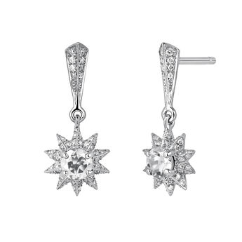 Silver gemstones star earrings, J03720-01-GD-WT, hi-res