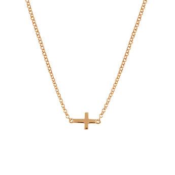 Rose gold cross necklace, J00653-03, hi-res