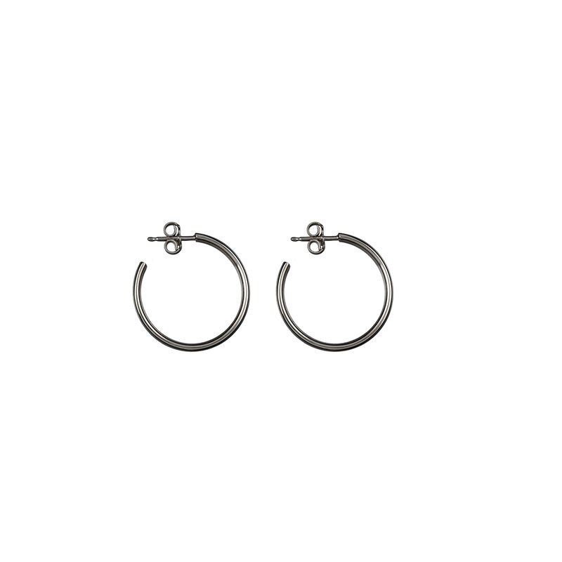 Silver smooth hoop earrings, J01587-01, hi-res