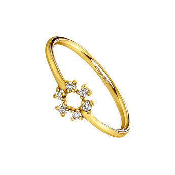 Gold lucky circle ring, J03831-02-WT, hi-res