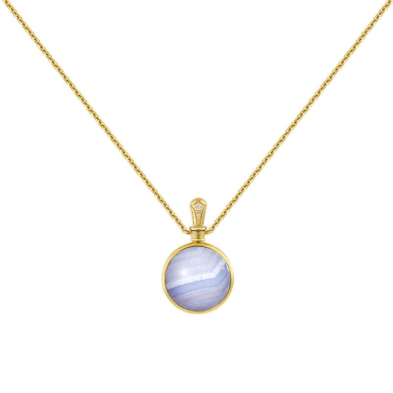Small necklace blue agate gold, J04125-02-BLAG-WT, hi-res