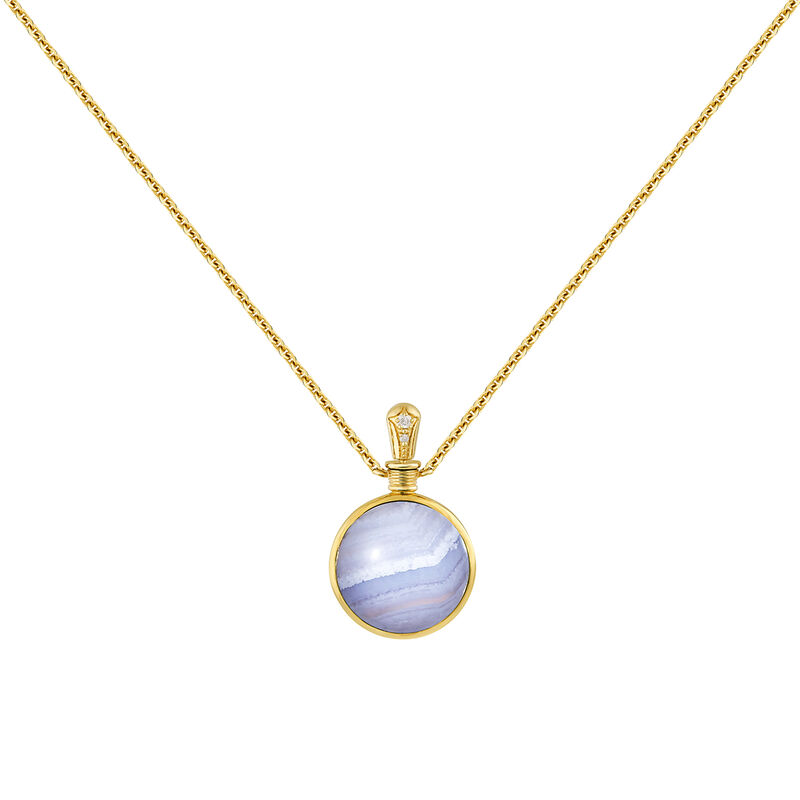 Small necklace blue agate gold
