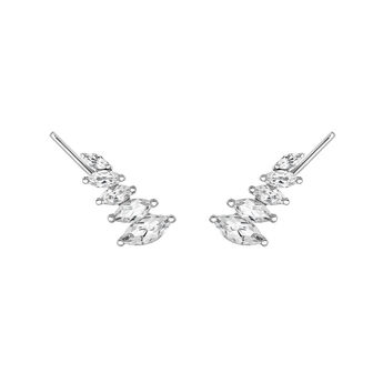 Silver climber earrings with topaz, J03668-01-WT, hi-res
