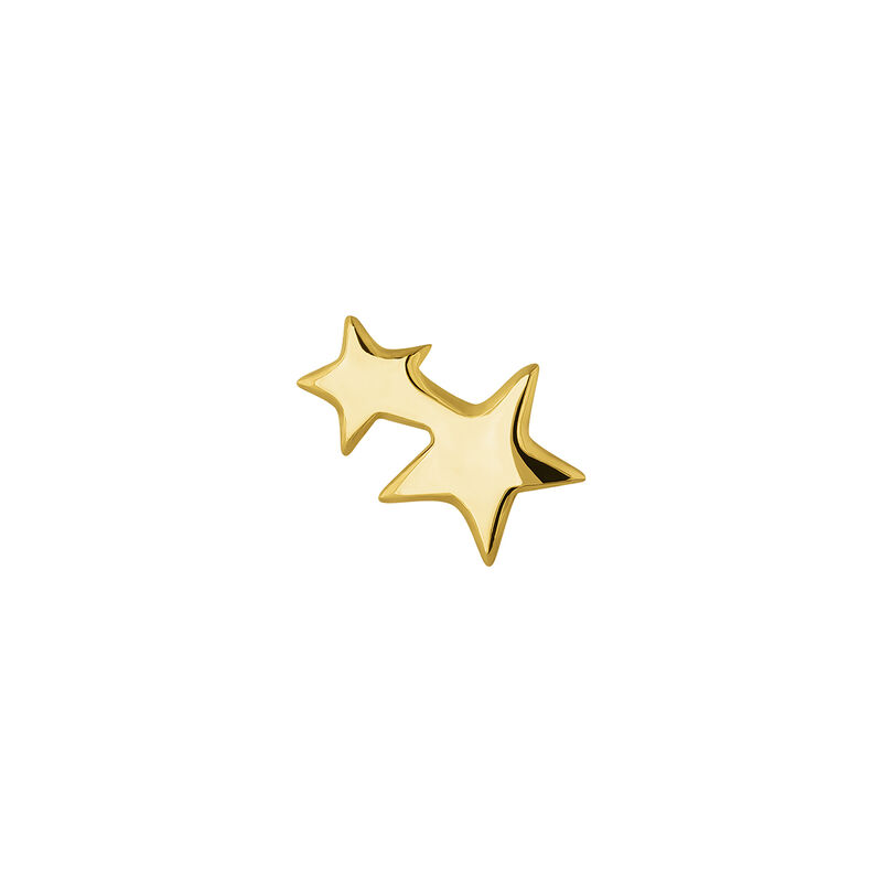 Gold plated silver two star earring, J04815-02-H, hi-res