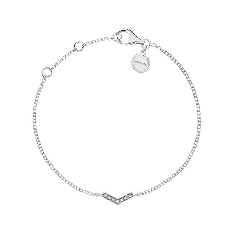 Silver v-shape bracelet with topaz, J03297-01-WT, hi-res