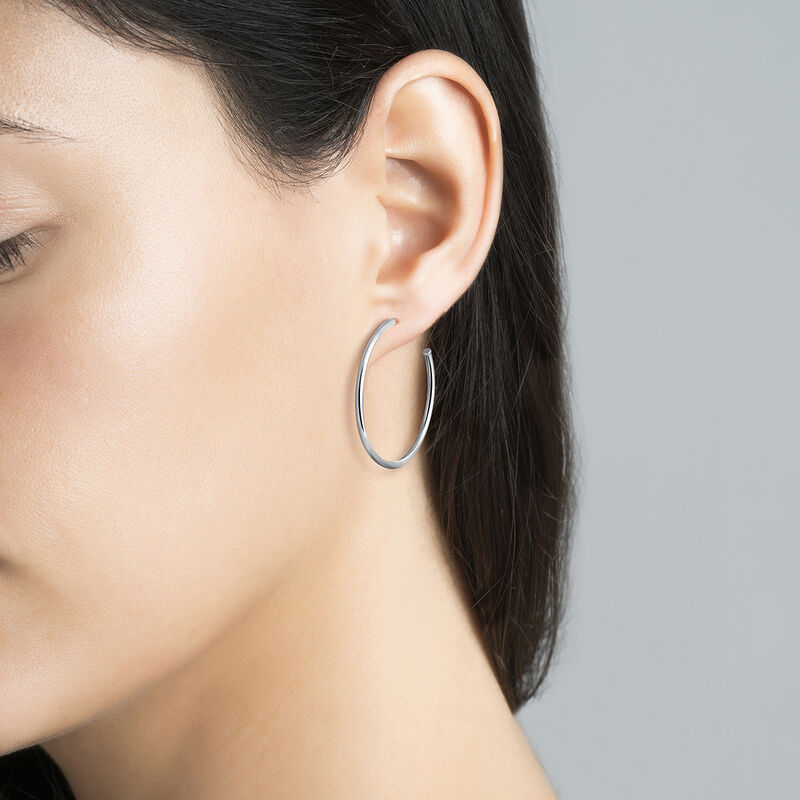 Silver medium hoop earrings, J03519-01, hi-res