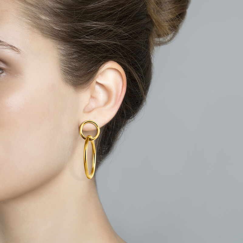 Gold double hoop earring, J03432-02, hi-res