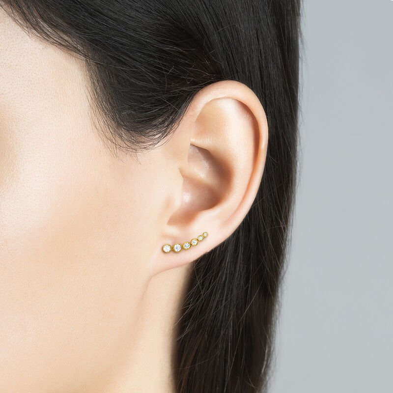 Gold plated climber earrings with topaz, J03669-02-WT, hi-res