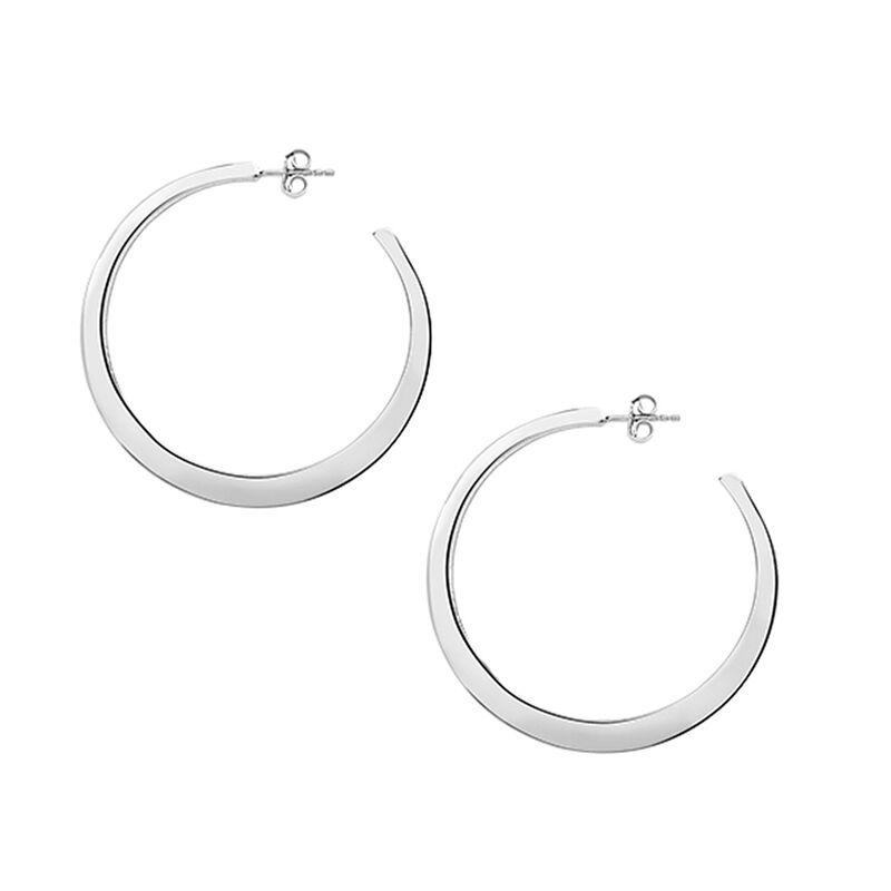 Large flat silver hoop earrings, J03099-01, hi-res