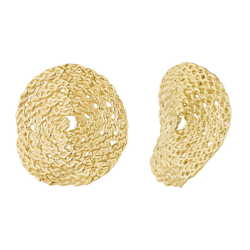 Large round gold plated wicker earrings