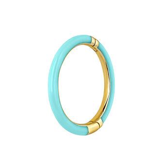 Large 9kt gold turquoise enamel hoop earring, J03844-02-H-TURENA, hi-res