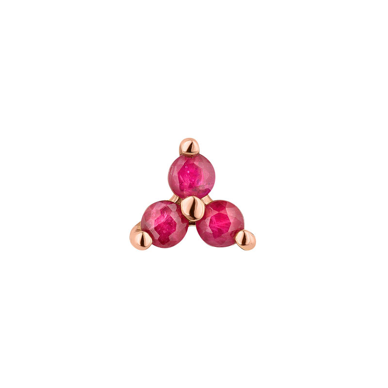 Mini rose gold clover ruby earring, J04347-03-RU-H, hi-res