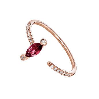 Anillo abierto rubí y diamantes oro rosa 9 kt, J04063-03-RU, hi-res