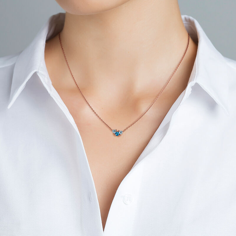 Medium rose gold plated necklace with topaz, J03424-03-LBSBSK, hi-res