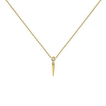 Collier pointe diamant or jaune, J03885-02, hi-res