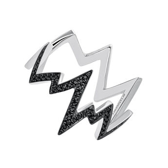 Silver spinel lightning-bolt ring, J03628-01-BSN, hi-res