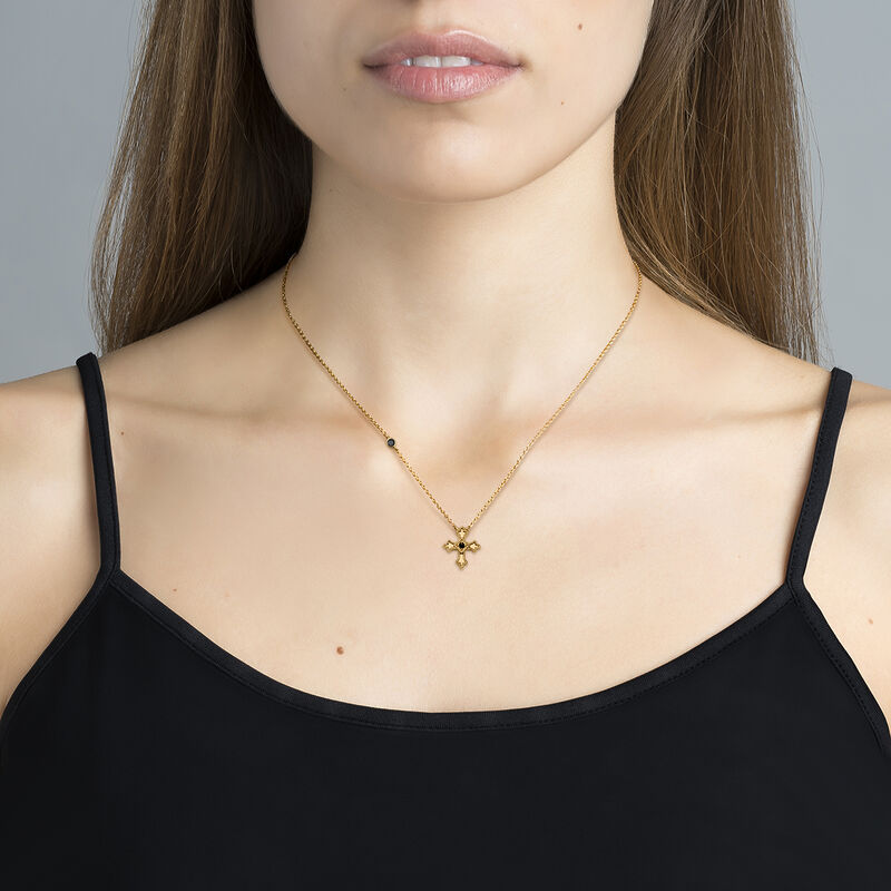Gold plated small-size cross necklace with white spinel, J04230-02-BSN, hi-res