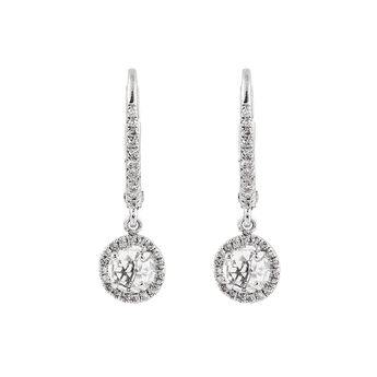 Diamond topaz hoop earrings, J01308-01-WT, hi-res