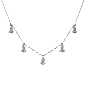 White gold diamond motif necklace, J03394-01, hi-res