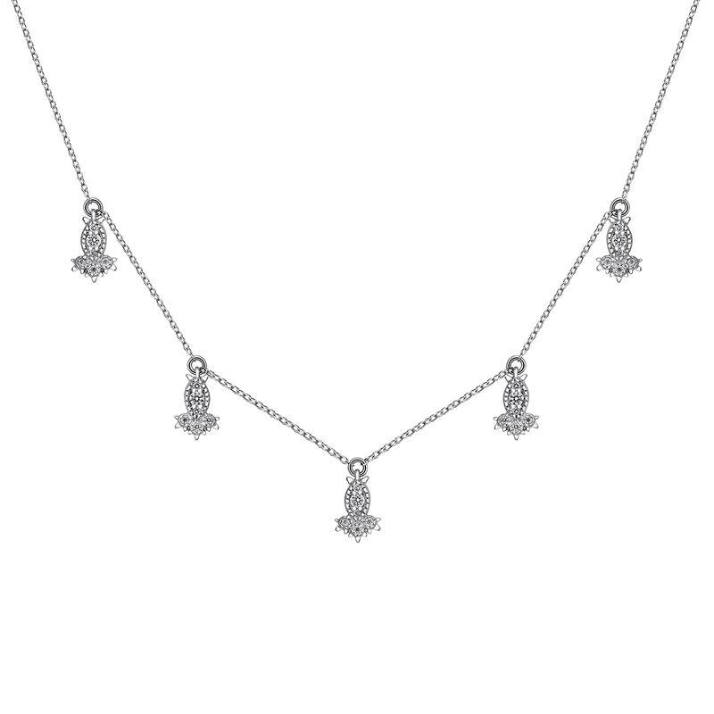 White gold diamond motif necklace 0.141 ct, J03394-01, hi-res