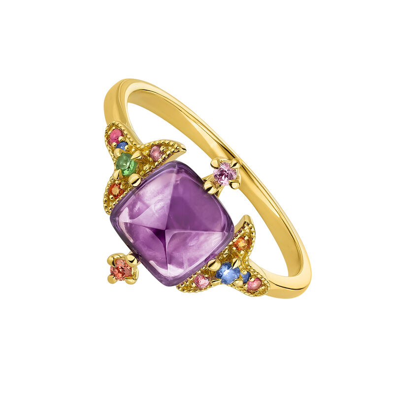 Gold plated amethyst geometric ring, J04311-02-LAMMULTI, hi-res