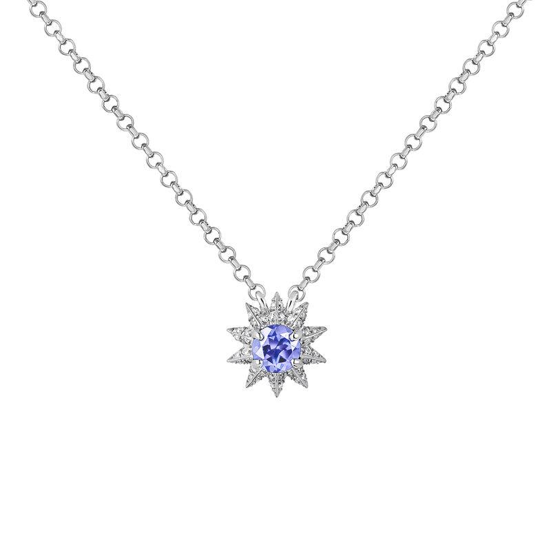 Silver Diamond and Tanzanite Necklace, J03308-01-TA-SP, hi-res