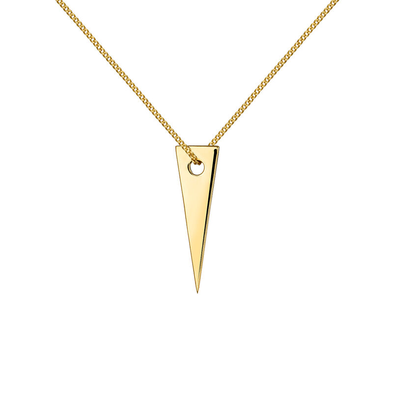 Collier triangle argent plaqué or, J03970-02, hi-res