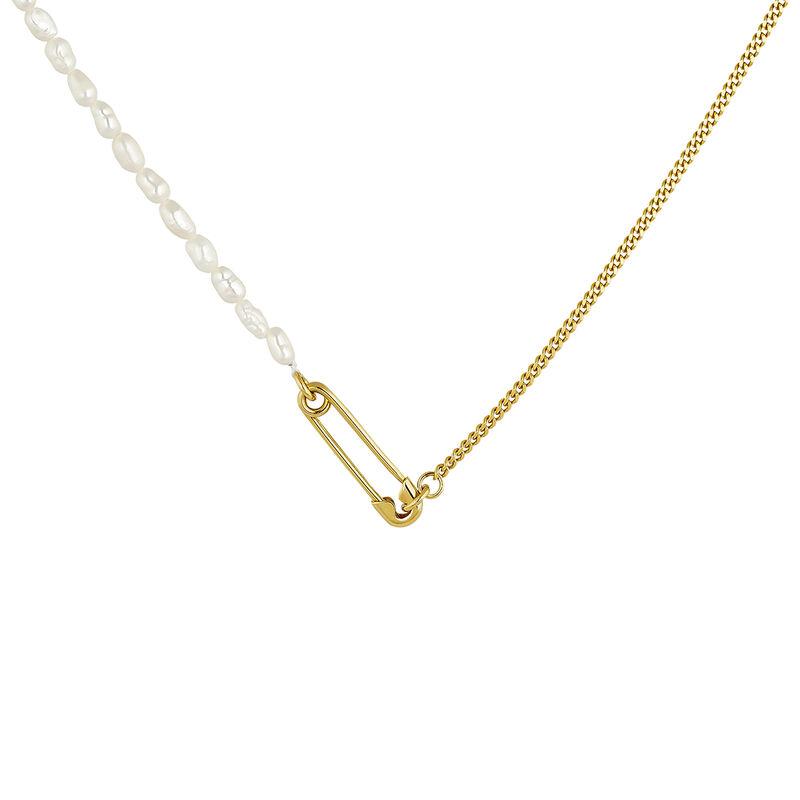 Collar imperdible perlas plata recubierta oro, J04573-02-WP, hi-res