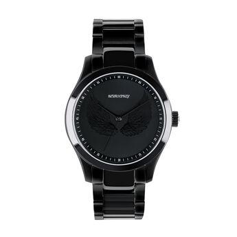 Montre Rock Icon ailes gravées bracelet acier noir, W41A-BLBLWG-AXBM, hi-res