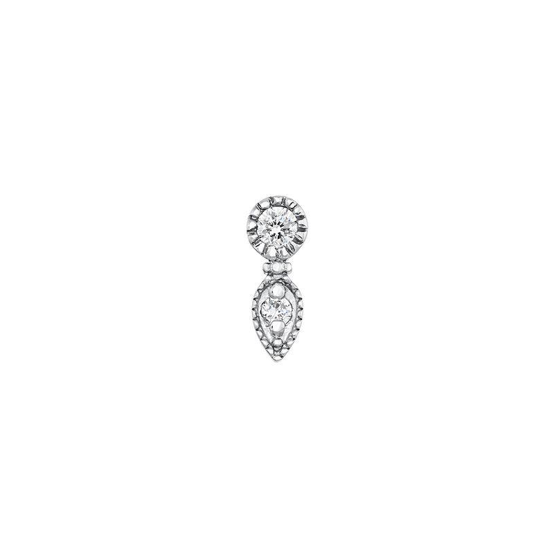 Pendiente piercing gota diamante oro blanco 0,020 ct, J03915-01-H, hi-res