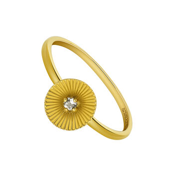 Gold Topaz Geometric Ethnic Ring, J03547-02-WT, hi-res