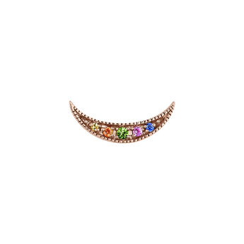 Pendiente medialuna con zafiros multicolor y tsavorita oro rosa, J04336-03-MULTI-H, hi-res